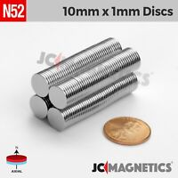 "50 100pcs 10mm x 1mm 3/8""x1/32"" N52 Strong Disc Rare Earth Neodymium Thin Magnet"