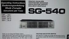 manuale utente equalizzatore grafico SG-540 hifi stereo pioneer carta formato a4