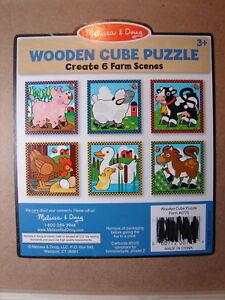 Melissa & Doug Farm Würfel Blöcke 6-in1 Puzzle W / Holz Ablage Kuh Pig Pferd