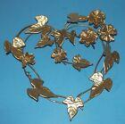 Wreath Heart Shape w Flowers   Leaves Gold Tone Retro Metal Vintage Wall Art