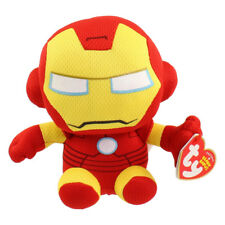 "TY Beanie Baby 6"" IRON MAN (Marvel) Plush Stuffed Animal Toy MWMT's Heart Tags"