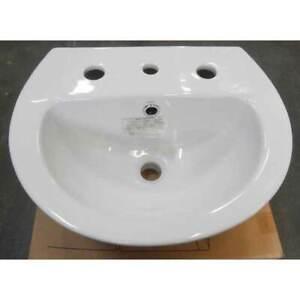 New Stylus 3 Tap Hole Wall Hung BASIN Small Bathroom China White Venecia 450