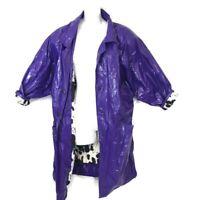 Vintage Womens Kenn Sporn WIPPETTE Shiny Red Vinyl/Zebra Print Lined Raincoat S