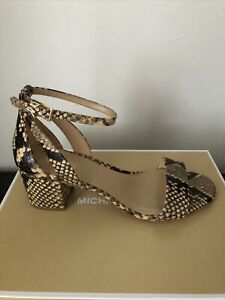 NIB $120 Michael Kors Cardi Camel Flex Snake Embossed Leather Sandals Sz 8.5M