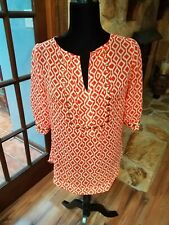 41Hawthorn Orange White 3/4 Sleeve V Neck Blouse Sz.S