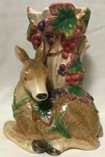 "Fitz & Floyd ""NATURE'S TREASURES"" ELEGANT DEER VASE HANDCRAFTED PORCELAIN"