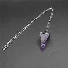 Natural Gemstone Crystal Quartz Healing Reiki Pendulum Pendant Chain Necklace Ng