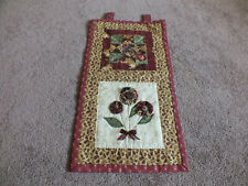 """Collectible Beautiful Handmade Quilted Wall Hanging Floral 16x9"""" + Loops to Hang"""
