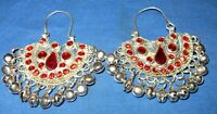 Earrings Crescent Red Bells Afghan Kuchi Tribal Alpaca Silver 2""