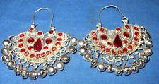 "Earrings Crescent Red Bells Afghan Kuchi Tribal Alpaca Silver 2"""