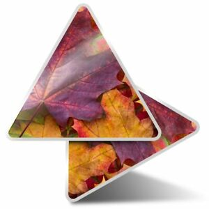 2 x Triangle Stickers 10 cm - Autumn Leaves Maple Tree  #14314