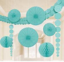 9 X Aqua pendant Papier Décoration de Fête Ventilateurs Honeycombs Guirlande