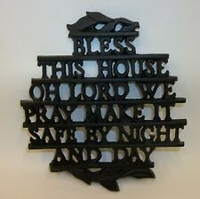 Cast Iron Metal Kitchen Trivet - Bless This House By Day and Night