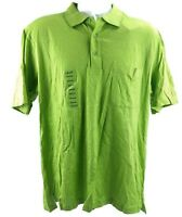 Izod Golf Cool FX Mens Medium Polo Shirt Green Striped SS Cotton $55