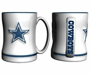 Dallas Cowboys 14oz Sculpted Relief Coffee Mug Boelter Brands - WHITE VERSION