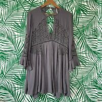 Free People Purple Lace Crochet Boho Mini Dress Women's Size XS