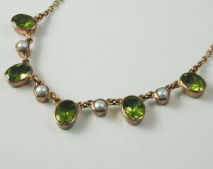 """Peridot & Pearl 9 carat rose gold necklace 16""""-18"""" long 3.25 cts"""