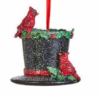 "3"" RAZ Cardinal Black Top Hat Red Bird Christmas Tree Glitter Ornament Decor"