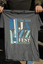 Chicago Jazz fest t shirt large thin designer distressed art Nm 40th 2018 Nice