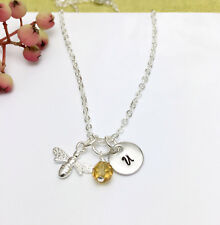 Personalised Sterling Silver Bee Charm, Honey Comb Bead, Initial Necklace Box