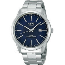PULSAR SOLAR POWERED PX3021x1 S.STEEL BLUE DIAL BNWT 2yr WARRANTY BOXED FREE P+P