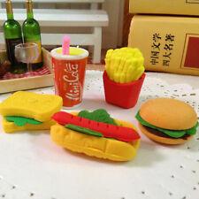 3Pcs Novelty Food Sandwich Hamburger Shaped Rubber Erasers Kids Stationery Sets
