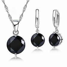 Fashion Black CZ Necklace Earring Silver Plated  Jewellery Sets.