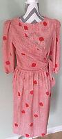 Vintage 60s 70s Red Chevron Polka Dot 3/4 Sleeve Wrap Elastic Waist Dress Sz 13