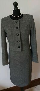 Hobbs Wool Blend Tweed Black & White Jacket Skirt Suit Blazer UK Size 12, 14