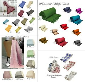 Large, XL & XXL Cotton Traditional 3 Designs Blanket Chair / Sofa / Bed Throws
