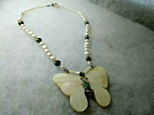 Vintage Lee Sands Necklace- Mother of Pearl Inlaid Butterfly  pearls & gemstones