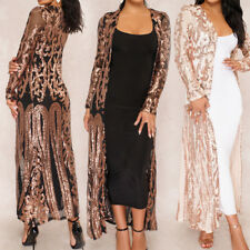 Ladies Women Sequins Sheer Long Cardigan Party Evening Maxi Dress Jacket Coat
