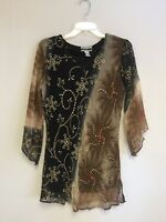 Ladies Printed Embellished Polyester Missy Size Tunic Top Blouse S-M-L-XL NWT