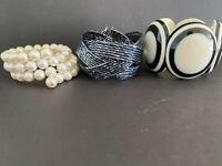 Set of 3 Bracelets, Pearl, Bead, Mod Wide Bracelets