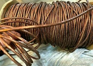 """Vintage Copper Metallic Cotton Filled Cord 1/8"""" Jewelry 3yds Made in France"""