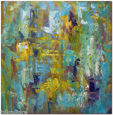 Colous of Blue Green Yellow -Hand Painted Modern Abstract Oil Painting 50x50cm