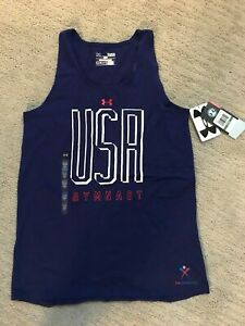 NWT Girls' UNDER ARMOUR HeatGear® USA GYMNAST Blue Youth XL Tank