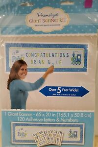 WELCOME BABY BOY!  Personalized Giant Banner Kit - Over 5 ft - Includes letters