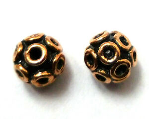 40 PCS 8MM SOLID COPPER BALI BEAD STERLING SILVER PLATED 754 MKL-480