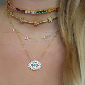 Turquoise Gemstone Baguette Diamond Evil Eye Pendant Necklace 14k Yellow Gold