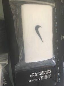 NIKE  Dri-FIT DoubleWide Wristbands, White