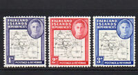 Falkland Islands 3 Thin Map Stamps c1946-49 Mounted Mint Hinged (6242)