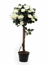 Artificial Realistic Stylish Potted Rose Tree Cream 92cm Home Decor Long Lasting