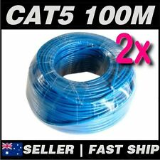 2 x 100m Blue Cat5 Cat5E 100Mbps Solid RJ45 Ethernet Network CCTV Home Cable
