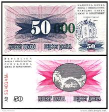 BOSNIA HERZEGOVINA 50000 50,000 DINAR 1993 UNC P.55e SHORT GREEN ZEROES-SARAJEVO