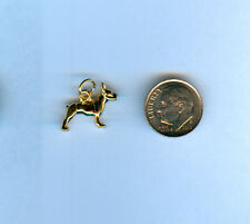 Boston Terrier 24kt Gold Plated 3D Dog Charm for Making Bracelet Jewelry