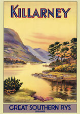 KILLARNEY Ireland Irish Vintage Travel Poster Reproduction 12x16 FREE S/H