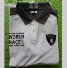 LAMBORGHINI MENS POLO TSHIRT XXL 2XL ANTHRACITE WHITE WORLD RACE 63 AVENTADOR