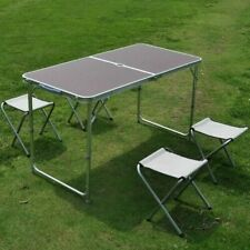 KITCHEN DINING GARDEN OUTDOOR PICNIC CAMPING FOLDING PORTABLE 4 CHAIR TABLE SET