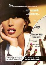 1993 Maybelline Cosmetics Christy Turlington Supermodel Vintage Print Ad 1990s